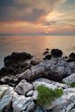 海岸线夜间 库存照片