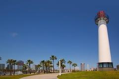 从海岸线灯塔的长滩加利福尼亚地平线 免版税库存图片