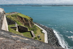 海岸线的全景从El Morro堡垒,圣胡安的 免版税库存图片