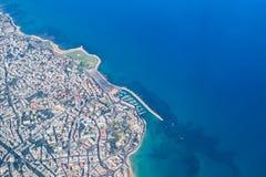 海岸线的鸟瞰图,海法,以色列 库存图片