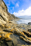 海岸线美好的横向在一个晴天 免版税库存图片