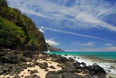 海岸线考艾岛na pali 库存图片