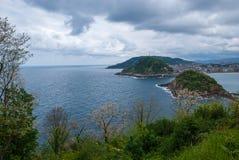 海岸线风景顶视图从登上Igueldo的在圣・萨巴斯蒂安,巴斯克地区,西班牙,欧洲 库存图片