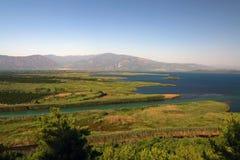 海岸线鸟瞰图在Dalyan,土耳其 免版税库存照片