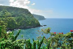 海岸线hana ・夏威夷毛伊路风景 免版税库存照片
