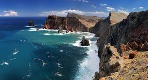 海岸线Ponta de圣洛伦索马德拉岛,葡萄牙 库存图片