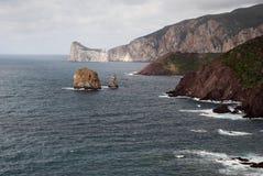 海岸西部南部的撒丁岛 免版税库存图片