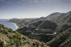 海岸路, Mojacar向卡沃内拉斯 库存图片