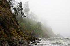 海岸雾和平的岩石坚固性海岸线 库存图片