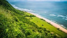 海岸鸟瞰图在Nunggalan海滩, Uluwatu,巴厘岛,印度尼西亚的 库存图片