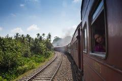 海岸,斯里兰卡- 03,02,2015 :铁路,铁路 库存图片