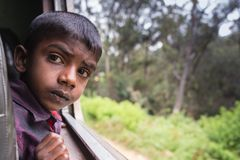 海岸,斯里兰卡- 03,02,2015 :铁路,铁路 免版税图库摄影