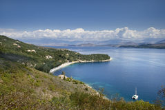 海岸corfu北部西部 免版税库存照片