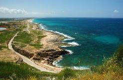 海岸hanikra以色列rosh视图 免版税库存照片