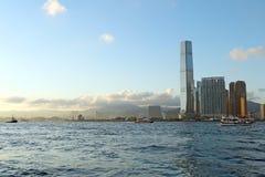 海峡和修造的香港的看法 免版税库存图片