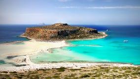 海峭壁,海岸风景海滩,希腊海岛,克利特, 免版税库存照片