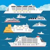 海巡航划线员传染媒介平的假期客船 向量例证