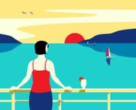 海巡航划线员旅游旅行手拉的平的海报 皇族释放例证