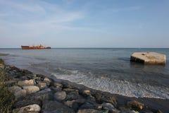 黑海平静击毁 免版税图库摄影