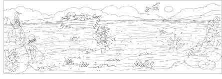 海底乘在孩子的小船和狗和潜水鸥和海,颜色画的脊椎 皇族释放例证