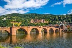 海得尔堡、老桥梁和城堡 免版税图库摄影