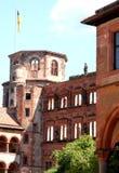海得尔堡古老城堡的壁角塔在德国 库存图片