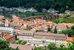 海得尔堡和老桥梁,海得尔堡,德国老镇  库存图片