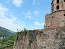 海得尔堡城堡塔和墙壁  库存图片