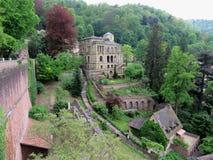 从海得尔堡城堡墙壁的看法  免版税库存照片