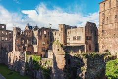 海得尔堡城堡废墟在德国 免版税库存照片