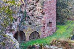 海得尔堡城堡废墟塔在海得尔堡 库存照片