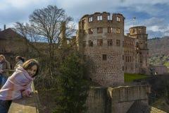 海得尔堡城堡,巴登-符腾堡州,德国 免版税库存图片