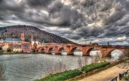 海得尔堡看法有Alte Brucke - Baden-WÃ ¼ rttemberg的,德语 免版税库存照片