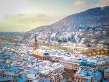 海得尔堡老镇的一张全景鸟瞰图在德国 免版税库存图片