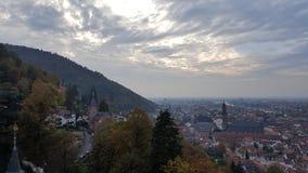 海得尔堡老镇,德国晚上视图  免版税库存照片