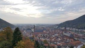 海得尔堡老镇,德国晚上视图  免版税库存图片