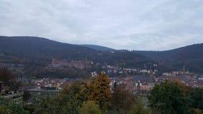 海得尔堡& x28城市; Germany& x29;-在老镇的看法包括城堡 免版税库存图片