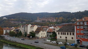 海得尔堡& x28城市; Germany& x29;-在老镇的看法包括城堡 库存照片
