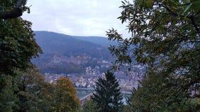 海得尔堡& x28城市; Germany& x29;-在老镇的看法包括城堡 库存图片