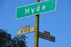 海德和伦巴第街道在旧金山 库存照片