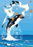 海怪攻击鸟gannet 免版税库存图片