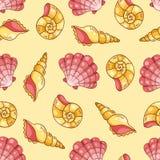 海扇壳无缝的样式黄色 免版税库存图片