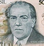 """海托尔・维拉-罗伯斯1887在巴西500 Cruzad的†""""1959年画象 免版税库存照片"""