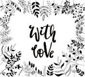 海报、一花卉phrame的贺卡设计和手在充满爱的行情上写字 向量例证