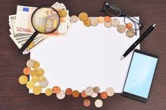 海报、电话和金钱 免版税库存图片
