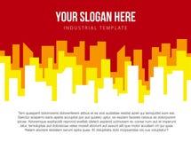 海报与红色和橙色城市地平线的传染媒介模板 库存照片