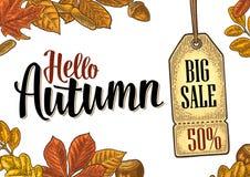 海报与集合叶子和橡子的秋天字法 传染媒介板刻 库存例证