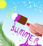 给海报做广告 热的夏天销售 库存例证