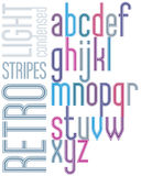 海报减速火箭的光镶边了字体,明亮的浓缩的小写lett 库存图片