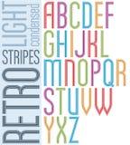 海报减速火箭的镶边字体,明亮的浓缩的几何大写 免版税库存照片